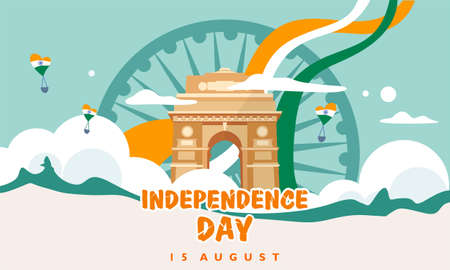 India independence day. 15 august. India gate. heritage building. For greeting card, banner and poster template. Vector illustration Ilustrace