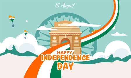 Independence day of India. With heritage building and flag Ilustrace