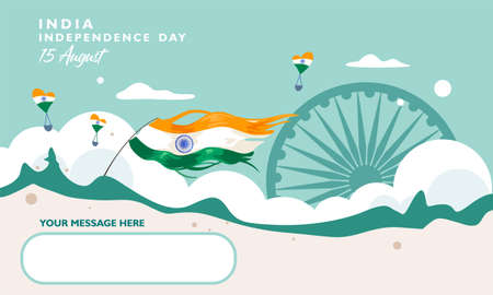 India independence day. 15 august. Greeting card, banner and poster template. Indian flag fluttering on landscape with air ballons Ilustrace