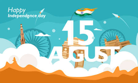 Happy Independence day India, Flyer, poster, banner background design for 15 august. With heritage building shape of india. Vector illustration