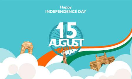 Happy Independence day India, Flyer, poster, banner background design for 15 august. Vector illustration Illustration