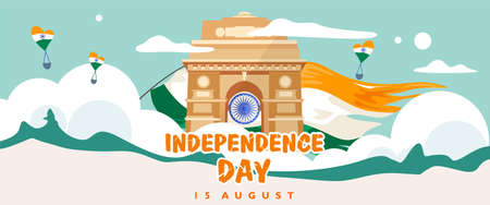 India independence day. 15 august. India gate heritage building. Greeting card, banner and poster template. Indian flag fluttering . Vector illustration