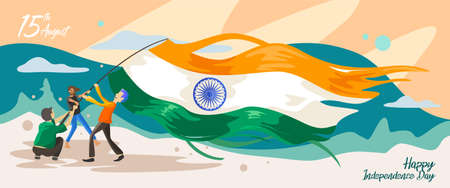India independence day. 15 august. Greeting card, banner and poster template. People illustration is being campaign with holding indian flag at dusk . Vector