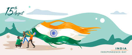 India independence day. 15 august. Greeting card, banner and poster template. People illustration is being campaign with holding indian flag at dusk on landscapes. Vector