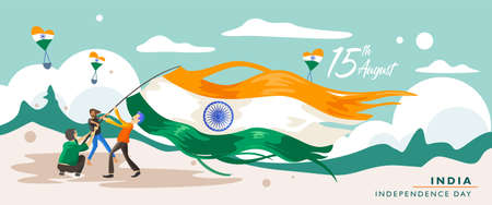 India independence day. 15 august. Greeting card, banner and poster template. People illustration is being campaign with holding indian flag . Vector