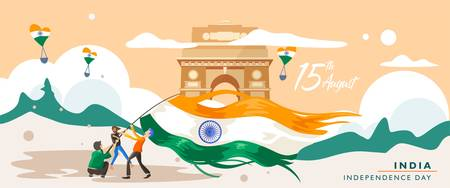 India independence day. 15 august. India gate heritage building. Greeting card, banner and poster template. people is being campaign with holding indian flag. Vector illustration Ilustrace