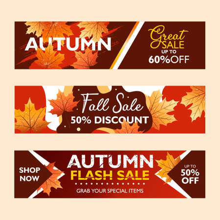 Autumn special offer banner collection for promotion, publication. Flash sale, fall sale and great sale. With falling leaves on colorful background. Seasonal sale. Vector illustration.