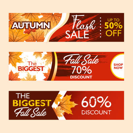 Autumn special offer banner collection for promotion, publication. Flash sale, fall sale. Falling leaves on colorful background. Seasonal sale. Vector illustration.