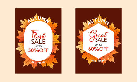 Autumn special offer poster collection for promotion, publication. Flash sale and great sale. With falling leaves on  background. Seasonal sale. Vector illustration.