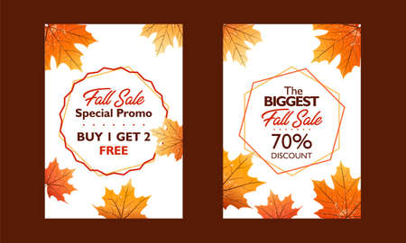 Autumn special offer poster collection for promotion, publication. Flash sale and great sale. With falling leaves on white background. Seasonal sale. Vector illustration.