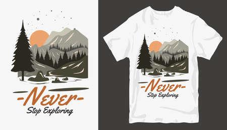 Adventure t-shirt design. Outdoor t shirt design. t-shirt design vector for print. Camping logo design vector illustration. Travel quotes for t shirt