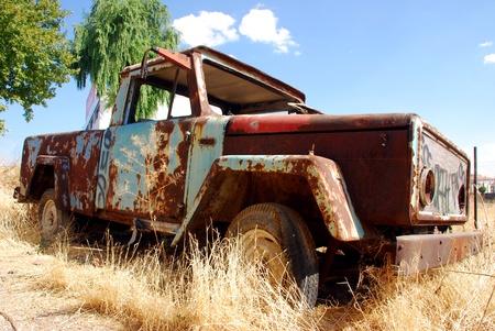 rusty car: abandoned truck
