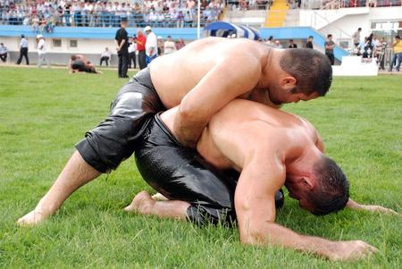 Ankara, Turkey, July 18,2009 - Competitors of Kırkpınar oil wrestler Editorial
