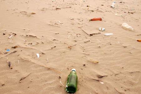Garbage on ocean coast photo