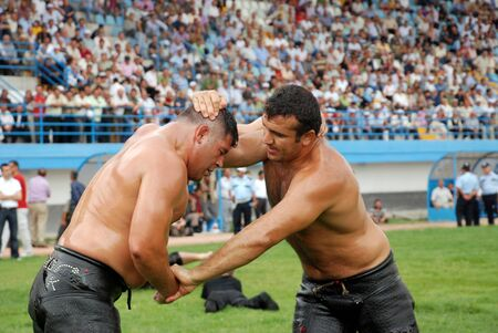 Ankara, Turkey, July 18,2009 - Competitors of Kırkpınar oil wrestler