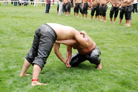 Ankara, Turkey, July 18,2009 - Competitors of Kırkpınar oil wrestler