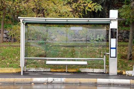 Empty Bus Stop Stock Photo