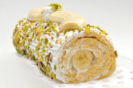 Banana roulade cake Stock Photo