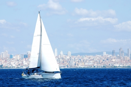 A Sailboat in Istanbul Stock Photo