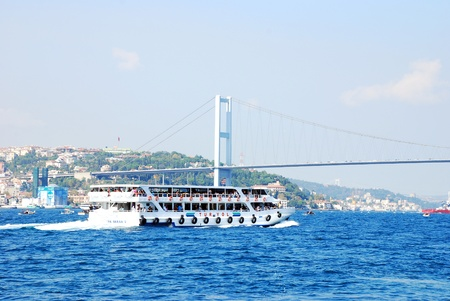 Bosphorus Bridge and ship Editorial