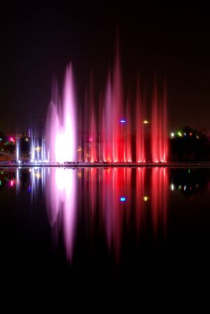 water show with fountains reflection Stock Photo