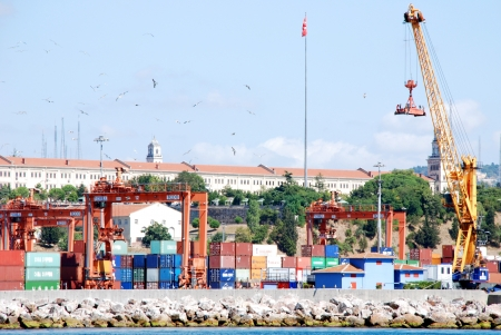 Cargo operations on a container ship in port Istanbul, Turkey