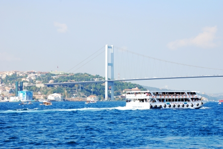 Bosphorus Bridge and ship in Istanbul,Turkey