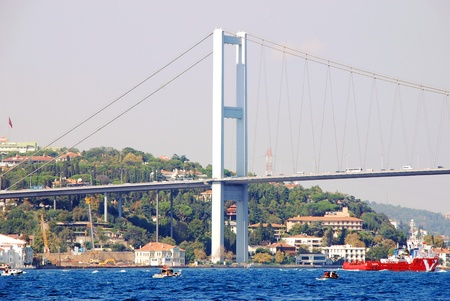 Bosphorus Bridge and ship in Istanbul,Turkey Stock Photo - 15791348