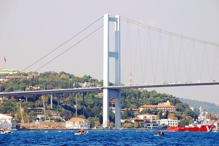 Bosphorus Bridge and ship in Istanbul,Turkey Stock Photo - 15791348