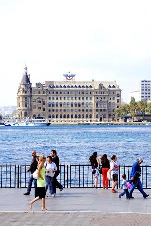 haydarpasa: Haydarpasa Train Station and people in Istanbul, Turkey