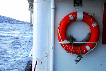 A lifebelt on the boat