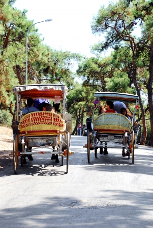 Horse carriage and people at Prince Island ,in  istanbul Editorial