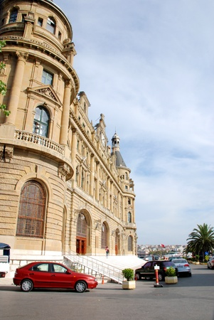 Haydarpasa central station building and cars  Istanbul - Turkey Stock Photo - 16586388