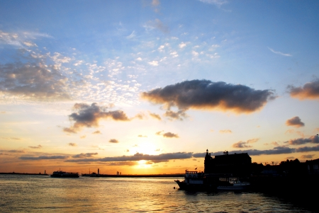 sunset and Haydarpasa Railway Station building,  304;stanbul, Turkey photo