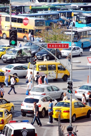 Morning traffic in Istanbul in summer, Turkey