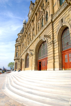 Haydarpasa Railway Station Building and stair in Istanbul, Turkey Stock Photo - 16743725