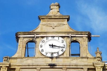 Haydarpasa Railway Station Building and clock in Istanbul, Turkey. Editorial