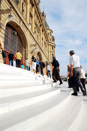 haydarpasa: Haydarpasa central station building and passenger  Istanbul - Turkey Editorial