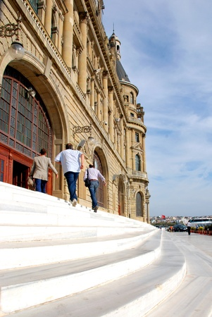 kadikoy: Haydarpasa central station building and passenger  Istanbul - Turkey Editorial