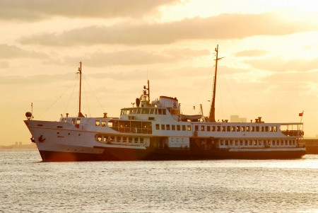 seabus: Sunset sky and boat istanbul, in turkey Editorial