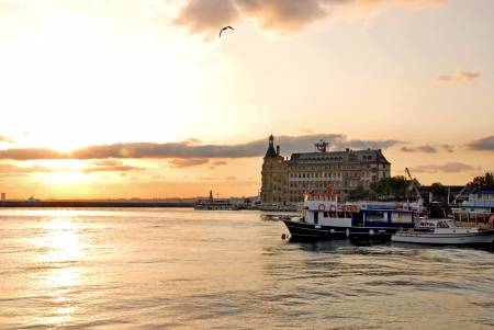 sunset and Haydarpasa Railway Station building,  istanbul, Turkey