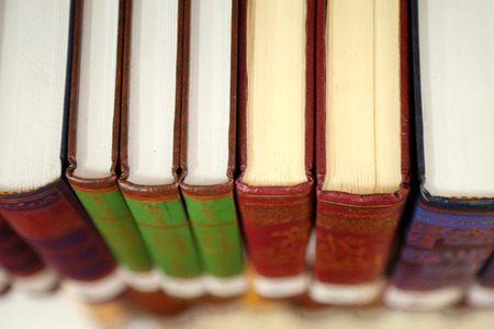 bibliomania: Colorful books in a row at library shelves