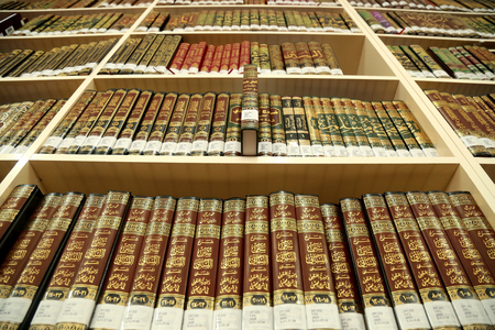 theoretical: Books on library shelves