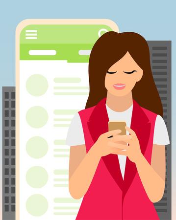 modern girl talking on messenger