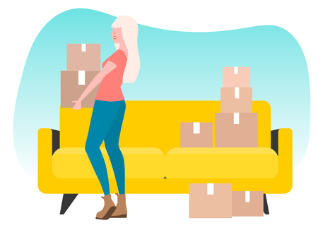 Move. Housewarming. Girl s moving. Yellow couch. A lot of boxes
