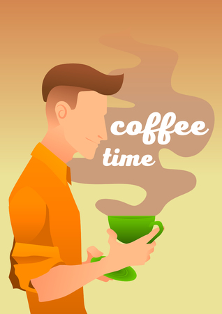 Coffee time. Steam from a mug with letters. Nice cover. Modern young man. Good morning. Ilustrace