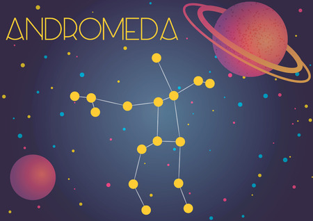 Bright image of the constellation Andromeda. Kids who are fond of astronomy will like it very much. 向量圖像
