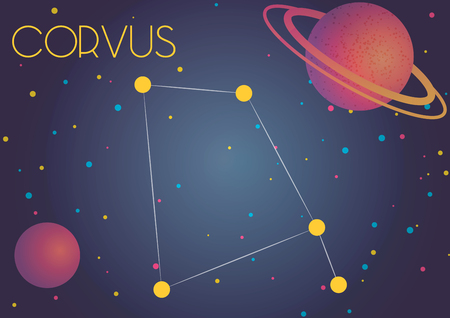 Bright image of the constellation Corvus. Kids who are fond of astronomy will like it very much.