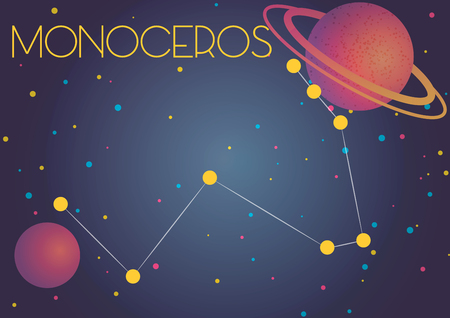 Bright image of the constellation Monoceros. Kids who are fond of astronomy will like it very much. 向量圖像
