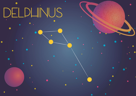 Bright image of the constellation Delphinus. Kids who are fond of astronomy will like it very much.